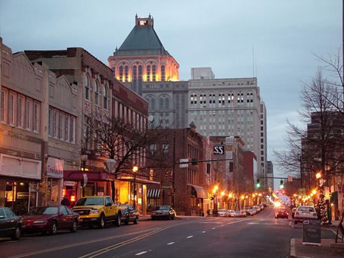 iy5064 greensboro nc north carolina downtown evening
