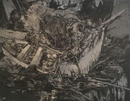 A&E, 913, Professor Biennial showcase, Annalee Glatus, Photo Credit- Mariam Aziza Stephan's piece, -Explosions & Falls-
