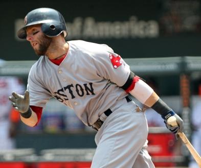 Boston Red Sox second baseman Dustin Pedroia (15)